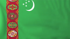 Flag of Turkmenistan waving in the wind, seemless loop animation Stock Footage