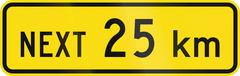 New Zealand road sign - Sign effective for the next 25 kilometres Stock Illustration
