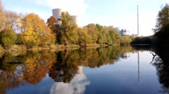 Nuclear power plant next the pond Stock Footage