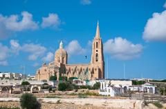 Church of the town of Mgarr on the island of Gozo, Malta by ferry Stock Photos