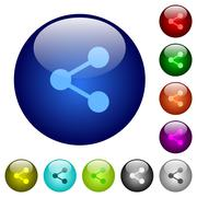 Stock Illustration of Color share glass buttons