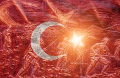 Great shiny  Turkish flag - stock illustration