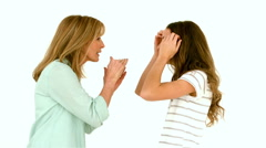 Mother and daughter arguing Stock Footage