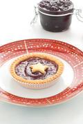 Stock Photo of Shortbread cake with cherry jam handmade