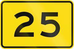 New Zealand road sign - Advisory speed of 25 kmh Stock Illustration