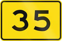 New Zealand road sign - Advisory speed of 35 kmh - stock illustration