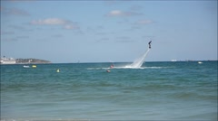 Man doing flyboarding  - stock footage