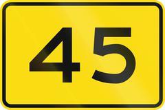 New Zealand road sign - Advisory speed of 45 kmh Stock Illustration