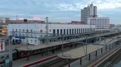 Russia. Novgorod - 2015: 4K V Novgorod Railways Terminal Stock Footage