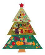 Illustration Christmas tree made with the words and the words Happy New Year - stock illustration