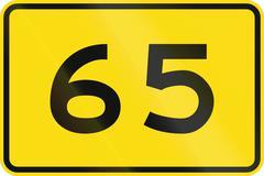 New Zealand road sign - Advisory speed of 65 kmh Stock Illustration