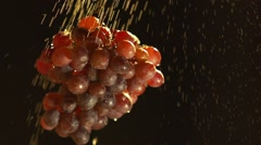 Large red grapes illuminated spectacular spins and drops of water fall Stock Footage