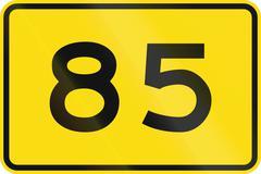 New Zealand road sign - Advisory speed of 85 kmh Stock Illustration