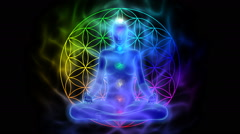 Meditation - aura, chakras, symbol flower of life - stock footage