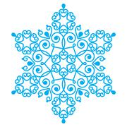 Christmas blue snowflake design - embroidery, lace style Stock Illustration