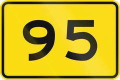 New Zealand road sign - Advisory speed of 95 kmh Stock Illustration