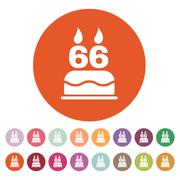 Stock Illustration of The birthday cake with candles in the form of number 66 icon. Birthday symbol