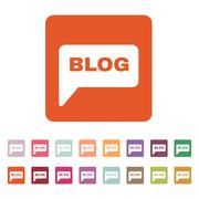 The speech bubble with a blog icon. Internet and forum, chat, online symbol - stock illustration