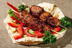 Shish kofte kebab - stock photo