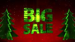 BIG SALE New Year red sparkling background x-mas tree - stock footage