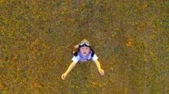 Little boy on the wheat field - stock footage