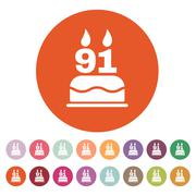 The birthday cake with candles in the form of number 91 icon. Birthday symbol - stock illustration