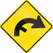 New Zealand road sign - Curve between 90 and 120 degrees, to right with hidde - stock illustration