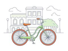 Bicycle on the street illustration Stock Illustration