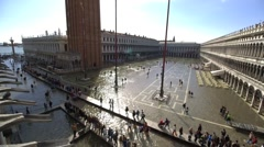 Sea level rise - Venice St Marks Square wide shot flooded tilt down Stock Footage