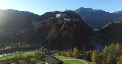Aerial view of alpine castle Hohenwerfen near Salzburg, Austrian Alps Stock Footage
