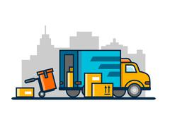 Unloading loading truck - stock illustration