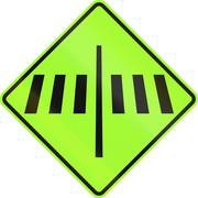 New Zealand road sign - Dedicated pedestrian crossing ahead, fluorescent gree Stock Illustration