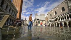 Selfie stick self-portrait tourist photo, fast motion, Venice Stock Footage