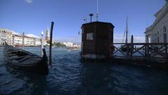 Venice Grand Canal scene with gondola, tidal gauge or tide gage Stock Footage