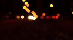 Street lights car bokeh. Stock Footage