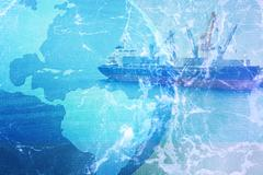 commercial container ship background - stock illustration
