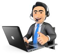 3D Call center employee working with thumb up Piirros