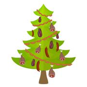 Tree meat food and delicacy. Christmas tree decorated with Garland of sausage Stock Illustration
