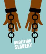 Abolition of slavery. Hands black slave with broken chains. Shattered shackle Stock Illustration