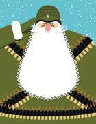 Military Santa Claus. Old soldier with beard and mustache. Military equipment Stock Illustration