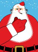 Bad Santa Claus shows fuck. Bad hand gesture. Bully Santa with  cigar. Christ - stock illustration