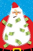 Stock Illustration of Rich Santa Claus. Many money in his beard. Santa brought Us dollars as  gift