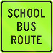 New Zealand road sign - School bus route, fluorescent version Stock Illustration