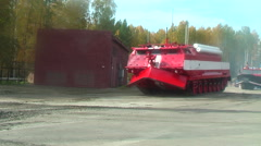 Special fire fighting vehicle SPM in motion Stock Footage