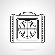 Bag for basketball flat line vector icon - stock illustration