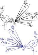Peacock Artistic Hand Drawn Stock Illustration