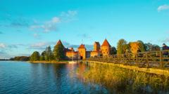 Trakai castle in the autumn, time-lapse Stock Footage