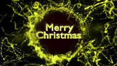 Merry Christmas, Gold Text in Particles Ring, 4k Stock Footage