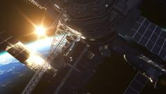 Flight Of Space Station On The Background Of The Rising Sun Stock Footage