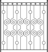 Wrought Iron Gate, Door, Fence, Window, Grill, Railing Design Stock Illustration